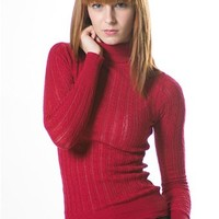 Cable Knit Turtleneck - Red at Lucky 21