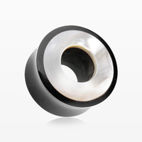 A Pair of Mother of Pearl Inlayed Buffalo Horn Ear Gauge Tunnel Plug