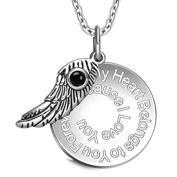 My Heart Belongs to You Forever Inspirational Pendant Simulated Onyx Angel Wing Amulet 22 Inch Necklace