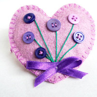 Heart ornament felt,with button flowers, handmade, Birthday, Valentine's day gift, Wedding, home decor, Christmas ornament, violet