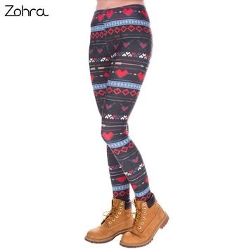 Zohra Fashion High Elasticity Snowflake Hearts Printed Women Slim Fit Legging Workout Trousers Casual Pants Leggings
