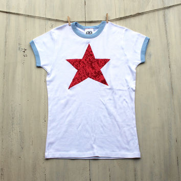 Sequin Star Ringer Tee