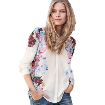 Long Sleeve Shirts Tops Women Chiffon Blouse Flower Printed Turn Down Collar Casual Shirt