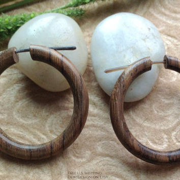 "Tribal Hoops, Stick Post Earrings, ""Kindred"" 100% Natural, Sono Wood"