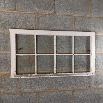 "Vintage 8 Pane Window Frame - 36W"" x 19L"", White, Rustic, Antique, Wedding, Beach Decor, Photos, Pictures, Engagement, Holiday, Business"