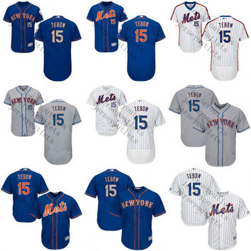 2017 custom Tim Tebow 15 Authentic baseball Jersey , Men's #15 Tim Tebow New York Mets Flexbase Collection stitched s-4xl