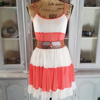 SUMMER NIGHTS LACE DRESS IN CORAL