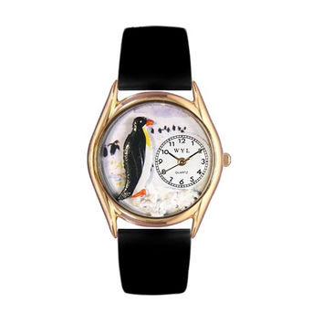 Whimsical Watches Healthcare Nurse Gift Accessories Penguin Black Leather And Goldtone Watch