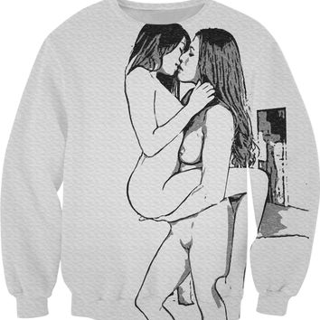 Adult series, unisex fit sweatshirt - This is girlie love, sexy lesbians kissing