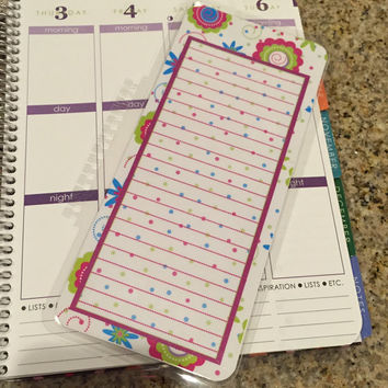 FREE SHIPPING Floral Flowers Polka Dot Laminated Dashboard Insert for Erin Condren Life Planner/Plum Paper Planner - clips right into coils!