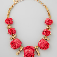 Resin Rose Necklace, Amaranth
