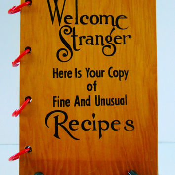 Cook Book 1960 Wood Cover Reference Book Welcome Stranger Illustrated Recipes Advertising and Coupons