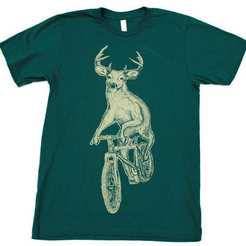Unisex Urban BICYCLE TSHIRT Deer on a Bike Unisex American Apparel  Forest T-Shirt