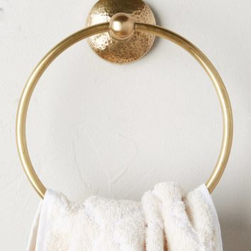 Hammered Brass Towel Ring
