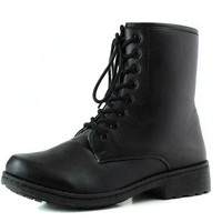 Ankle Booties Military Inspiring Combat Lace Up Boot Black Color