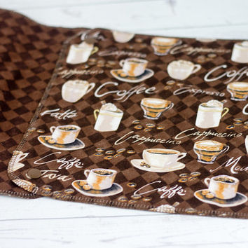 Reusable Paper Towels with Snaps - Set of 6 Towels - Coffee, Cafe, Brown Print - Eco-Friendly Unpaper Towels
