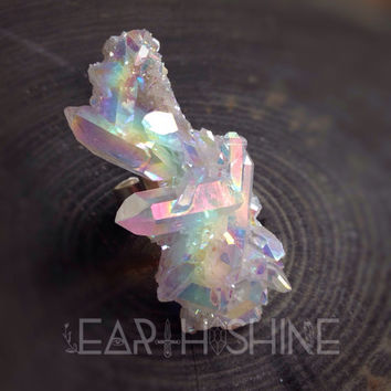 Angel Aura Opal quartz cluster Statement Ring, geode, druzy, gemstone, crystal point, statement ring, cocktail ring, sparkly, large