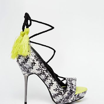 New Look Tassel Faux Snakeskin Heeled Sandals