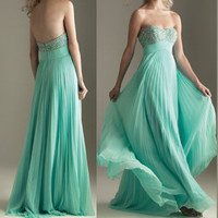 Unique Mint Green Rhinestone Slim Long Dress