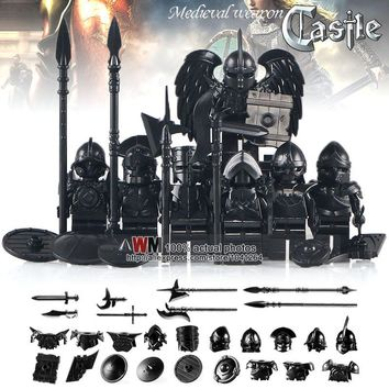 MOC Medieval Age Castle knights Shadow Golden Trooper 7PCS/SET With Big Wing Action Figure Building Blocks Kids Toys Gifts