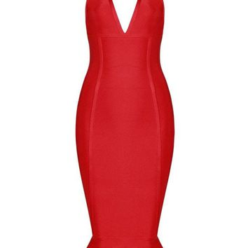 Honey Couture LALA Red V Neck Midi Bandage Dress