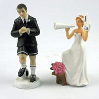 Wedding Cake Decoration creative Horn Bride and Football Groom Couple Wedding Cake Topper Decoration in Event & Party supplies