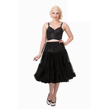 Vintage Rockabilly Swing Dance Bridal Underskirt Super Soft Black Petticoat 26""
