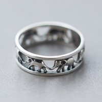 Retro Hollow Out Elephant Ring Sterling Silver Cute Tail Rings + Free Gift Box + Free Shipping 167