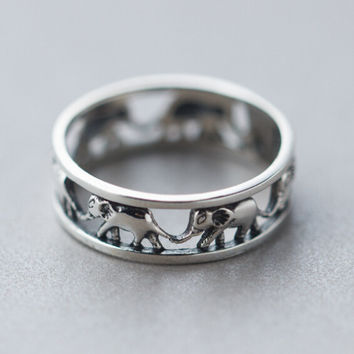 Retro Hollow Out Elephant Ring Sterling Silver Cute Tail Rings Gift 167