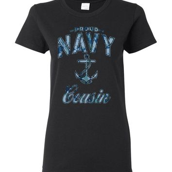 Proud Navy Cousin Women's T-Shirt (Camo)