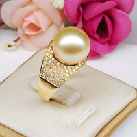 11mm South Sea Pearl .65CT Diamonds Engagement Ring in 14K Yellow Gold