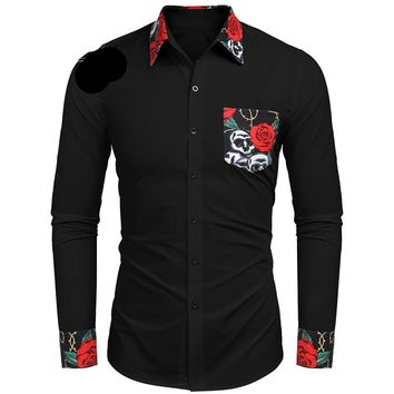 Men Print Sleeve Fashion Dress Shirt Long Casual Collar Floral Skull