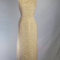 Vintage 60's Gold Brocade Wiggle Dress Bombshell Curves Full Length Gown