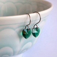 Patty's Emerald Heart - Swarovski Crystal And Stainless Steel Heart Earrings SRAJD