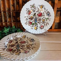 Staffordshire Bouquet, Multicolor Staffordshire, Brown Transferware, Multicolor Bouquet, Vintage Transferware, Johnson Bros England