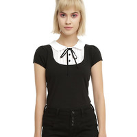 Black & Ivory Pintuck Collar Girls Top
