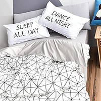 BuLuTu Diamond Grid Print 3 Pieces Duvet Cover Sets Twin Cotton White Grey Bedding Collections,1 Duvet Cover + 2 Pillowcases,Love Gifts for Him,Her,Men,Women,Kid,Boys,Girls,Friend,Family,NO COMFORTER