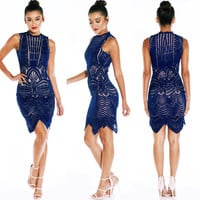 Contrast Navy Midi rehearsal dinner, wedding guest, formal, bridal shower dress
