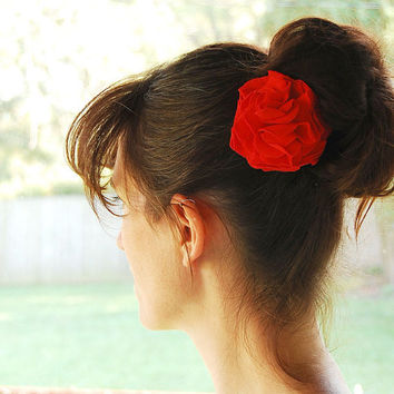 Ruby Red Carnation Hair Clip - Repurposed Tshirt