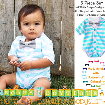 Baby Boy Cardigan Outfit with Bow Tie Aqua Blue and Grey - Preppy Baby Outfit - Short Sleeve - Baby Boy Clothes - Stripes - Summer - Spring - Noah's Boytique