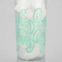Woodblock Paisley Printed Highball Glass-