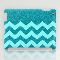 Chevron Teal Glitter iPad Case by Alice Gosling