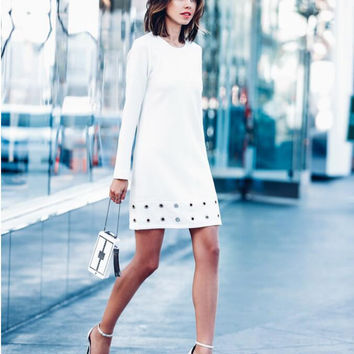 White Cut Out Hem Long Sleeve Shift Dress