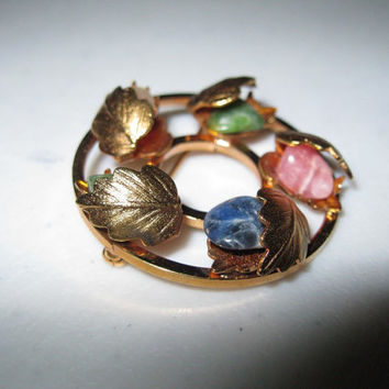 Vintage Gold tone Circle Brooch / Multicolored Stones Brooch / Circle Pin / Valentines Day / for Her