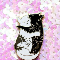 Day & Night Hugging Cat Enamel Pins » Glitter Punk Jewellery