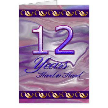 12 Years Hand in Hand (anniversary card) Card
