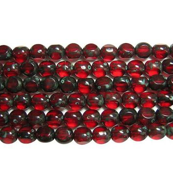 Lot of 19 7mm Tri-cut Round Ruby Red, Garnet, Czech glass beads with Black Picasso Finish, C00219