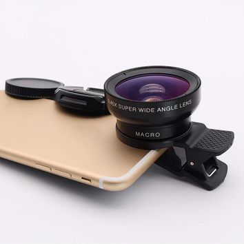 Wide Angle 180° Fish Eye Macro Clip Camera Lens Kit for iPhone 6 7 Mobile iPhone
