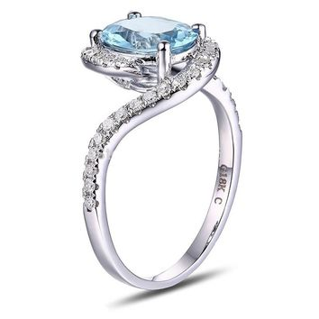 Caimao 1.71ct Natural Blue Aquamarine 14k White Gold Natural Diamond Engagement Ring Jewelry