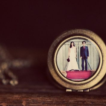 Bride and Groom on Red Piano Photo Locket by HeartworksByLori